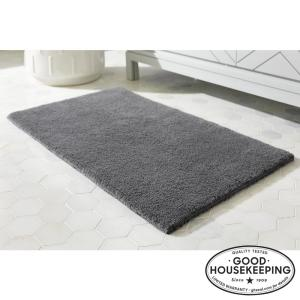 Charcoal 21 in. x 34 in. Cotton Reversible Bath Rug