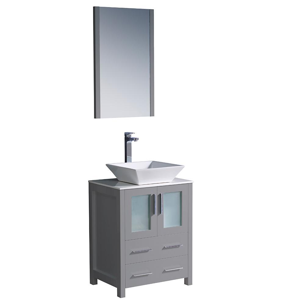 Bath Vanity Gray Glass Stone Vanity Top White Vessel Sink Mirror