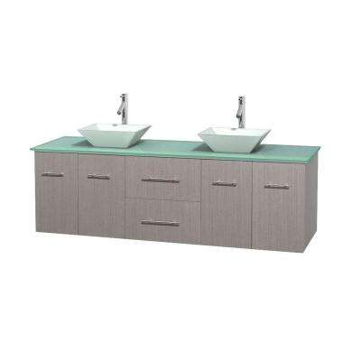 Centra 72 in. Double Vanity in Gray Oak with Glass Vanity Top in Green and Porcelain Sinks