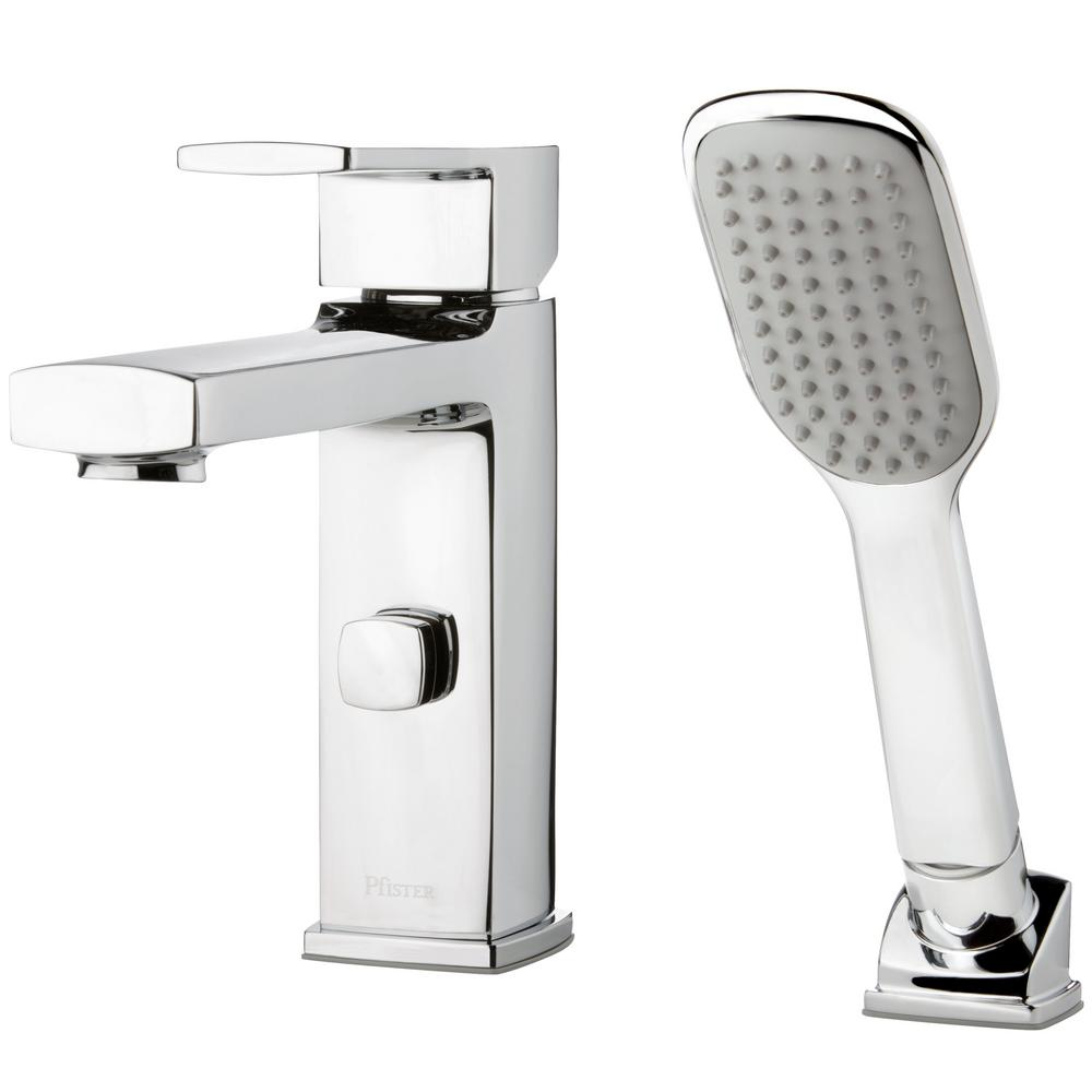 Pfister Deckard Single Handle Deck Mount Roman Tub Faucet With Handshower In Polished Chrome Rt6 2dac The Home Depot