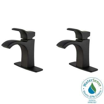 Venturi 4 in. Single Hole Single-Handle Bathroom Faucet in Matte Black (2-Pack)