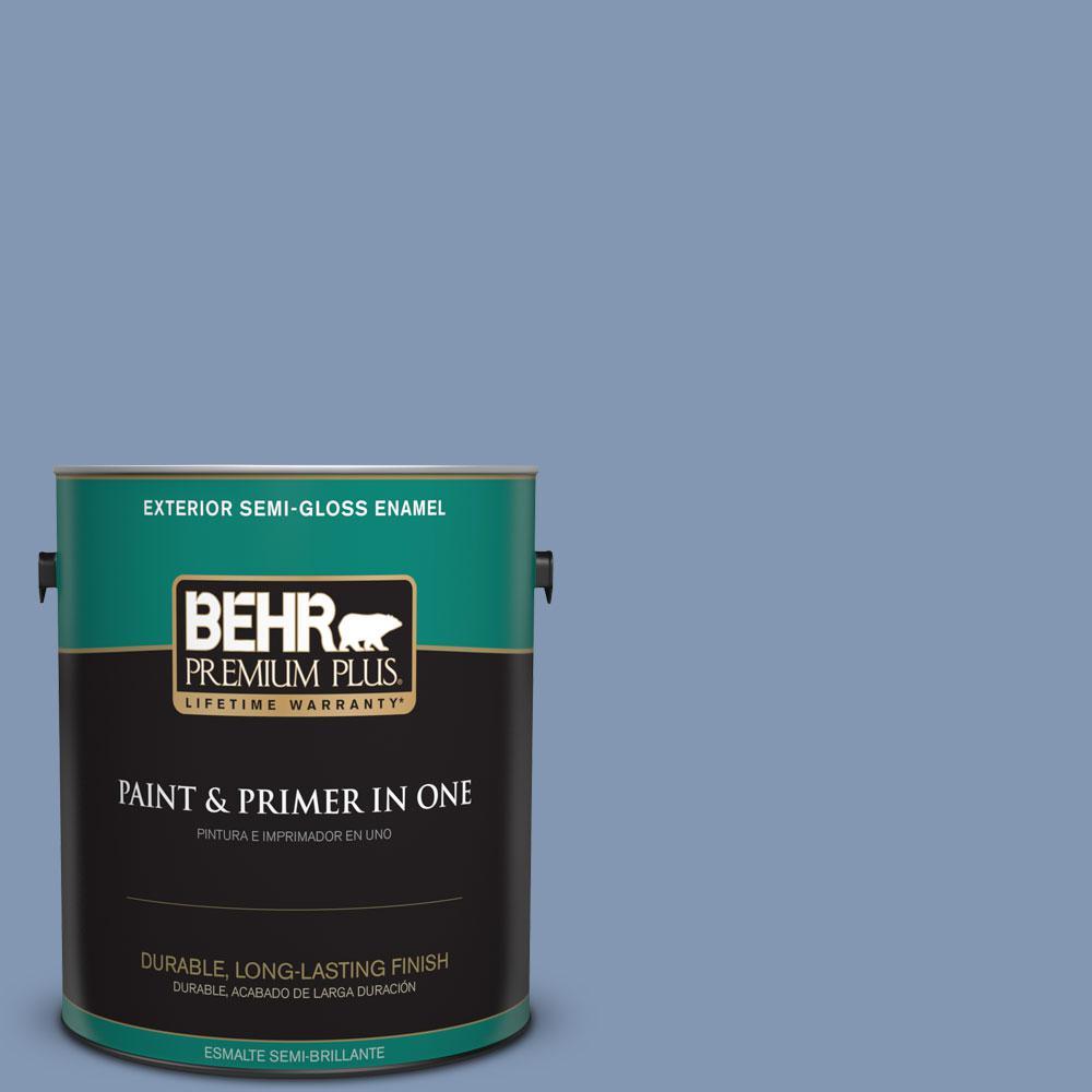 BEHR Premium Plus 1-gal. #S530-4 Jet Set Semi-Gloss Enamel Exterior Paint