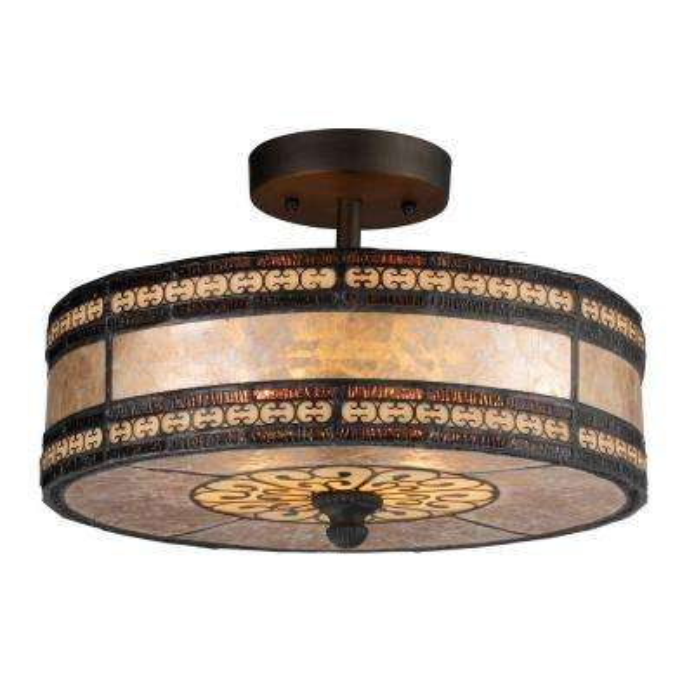 Mica Filigree 2-Light Tiffany Bronze Ceiling Semi-Flush Mount Light
