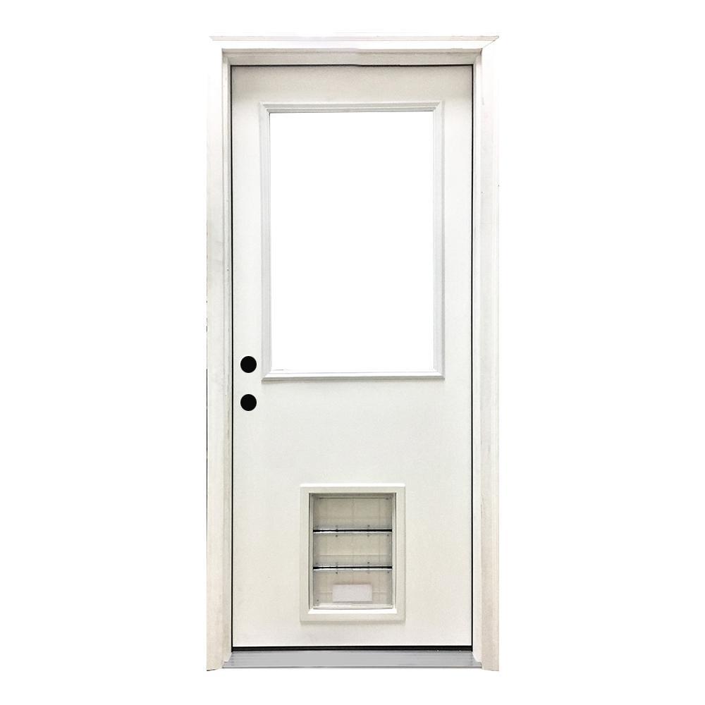 36 in. x 80 in. Classic Clear Half Lite RHIS White Primed Fiberglass Prehung Back Door with XL Pet Door
