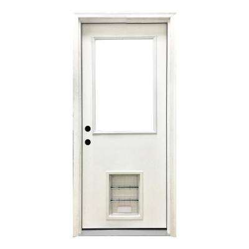 30 in. x 80 in. Classic Half Lite RHIS White Primed Textured Fiberglass Prehung Front Door with XL Pet Door