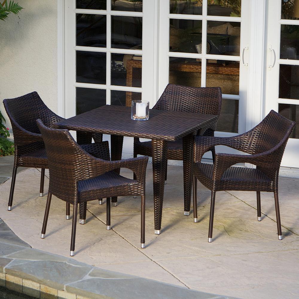 Cliff Multi-Brown 5-Piece Wicker Outdoor Dining Set
