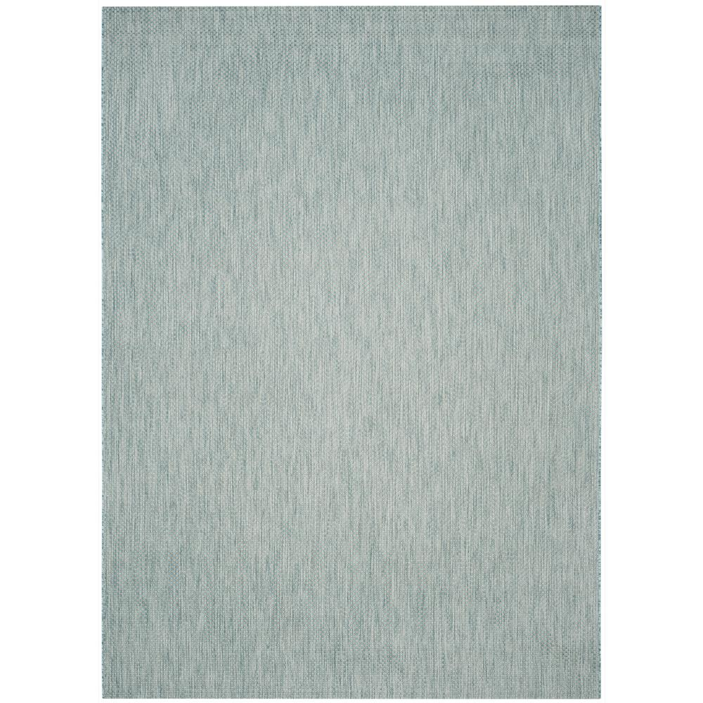 Courtyard Aqua/Gray 9 ft. x 12 ft. Indoor/Outdoor Area Rug