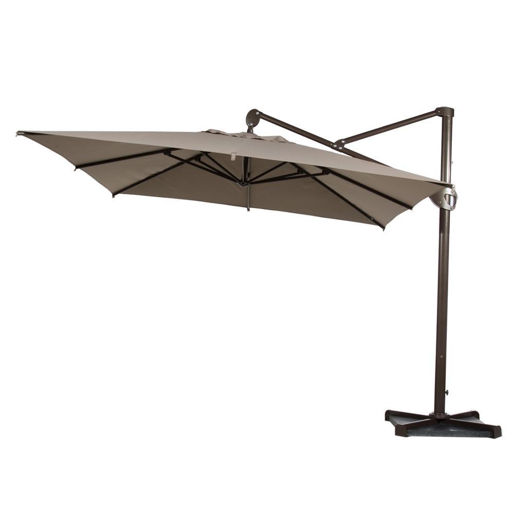 10 ft. Hanging Rectangular Cantilever Umbrella with Cross Base and Umbrella Cover Offset Patio Umbrella in Tan