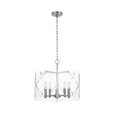 Pentos 5-Light Brushed Nickel Acrylic Chandelier