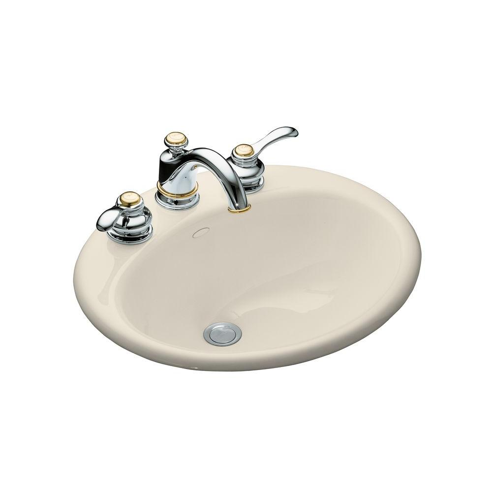 Kohler farmington drop in cast iron bathroom sink in almond with overflow drain k 2905 8 47 Kohler cast iron bathroom sink