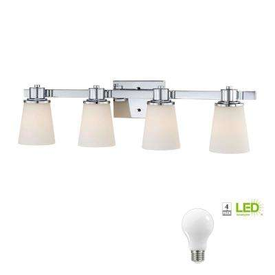 4-Light Chrome Bath Vanity Light with Bell Shaped Etched White Glass, Dimmable LED Soft White Bulbs Included