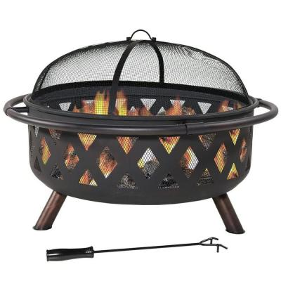 Sphere 36 in. x 24 in. H Round Cast Iron Wood and Coal Burning Outdoor Fire Pit and Grill in Black with Poker