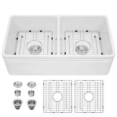 Fireclay 33 in. 50/50 Double Bowl Farmhouse/ Apron-Front Porcelain Ceramic Kitchen Sink in White