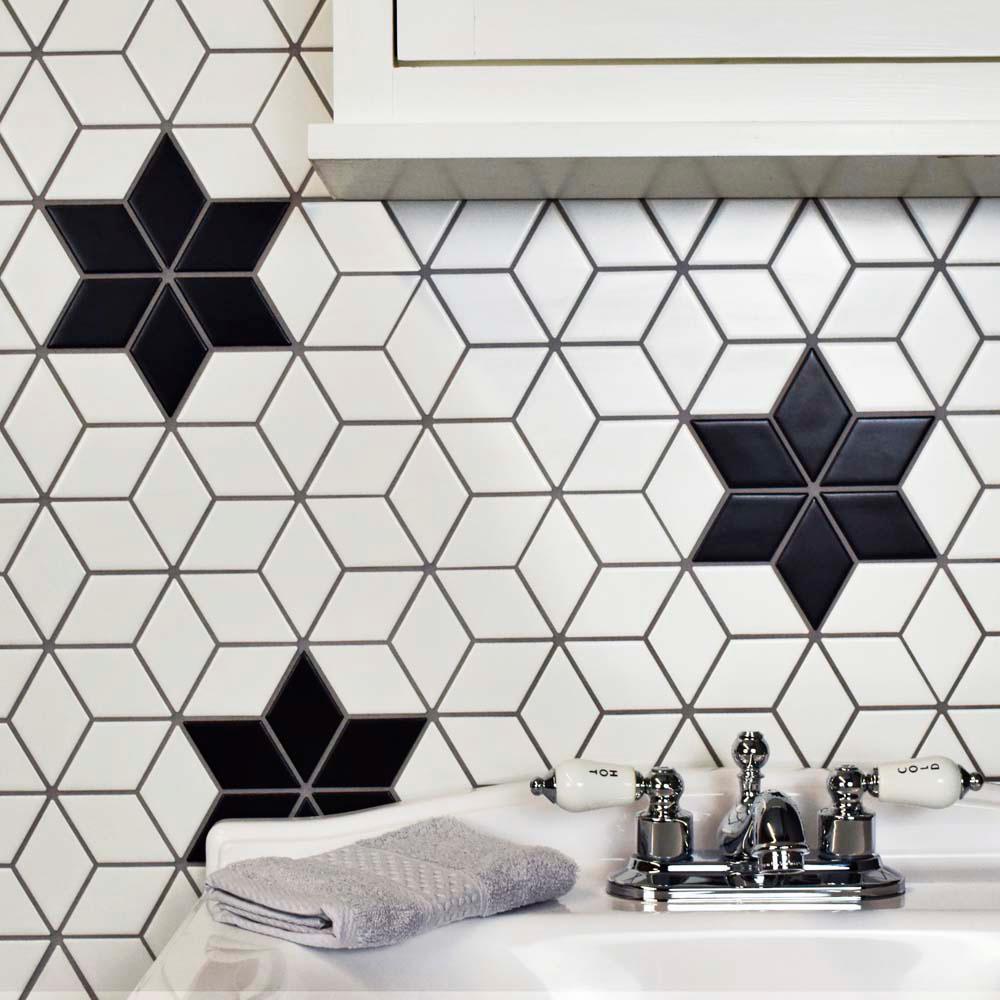 - Merola Tile Metro Rhombus Matte Black Porcelain Mosaic Tile - 3 In