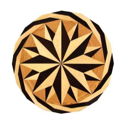 Round Medallion Unfinished Decorative Wood Floor Inlay MC001 - 5 in. x 3 in. Take Home Sample