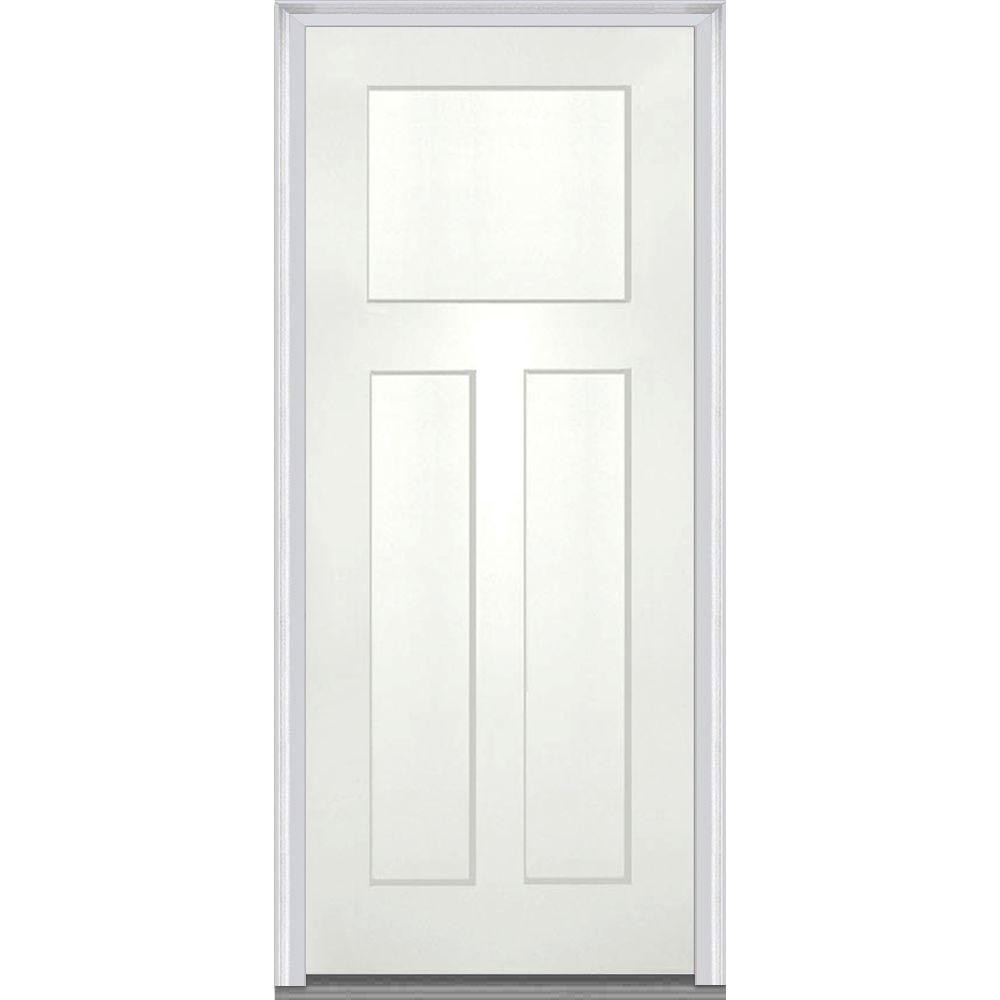 32 in. x 80 in. Left-Hand Inswing Craftsman 3-Panel Shaker Classic Painted Fiberglass Smooth Prehung Front Door
