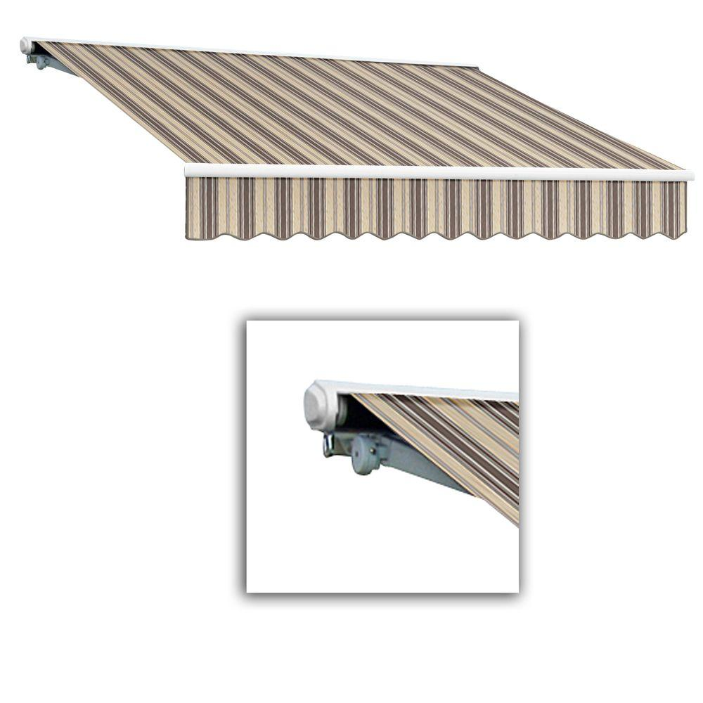 AWNTECH 12 ft. Galveston Semi-Cassette Left Motor with Remote Retractable Awning (96 in. Projection) in Paupe Multi