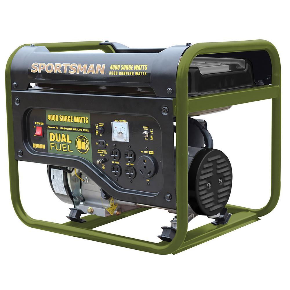 4,000/3,500-Watt Dual Fuel Powered Portable Generator, Runs on LPG or Regular Gasoline