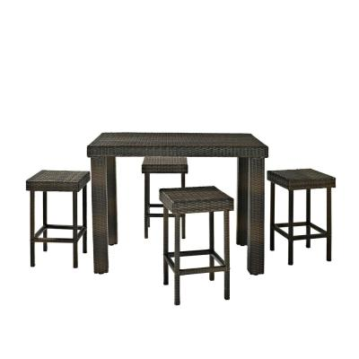 Palm Harbor 5-Piece Wicker Outdoor Bar Height Dining Set