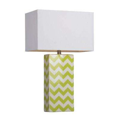 26 in. Green and White Chevron Print Ceramic Table Lamp