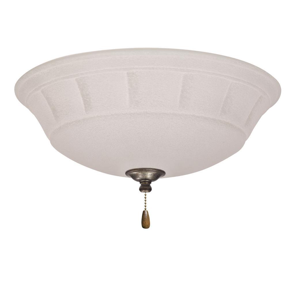 Grande White Mist 3-Light Vintage Steel Ceiling Fan Light Kit