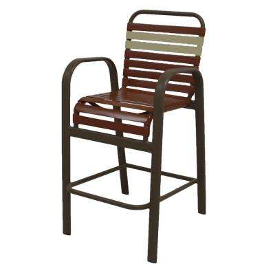 Marco Island Brownstone Commercial Grade Aluminum Bar Height Patio Dining Chair with Saddle and Putty Vinyl Straps
