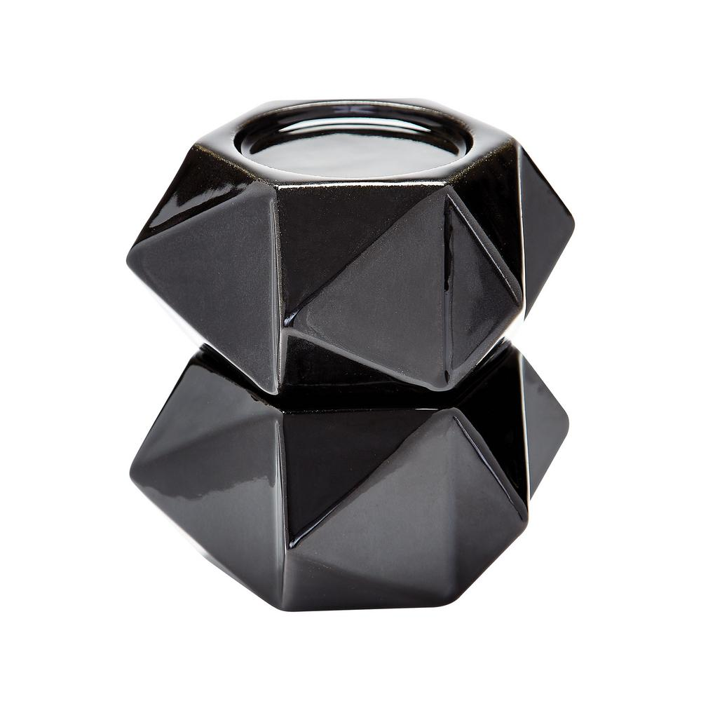 Large Ceramic Black Star Candle Holder (Set of 2)