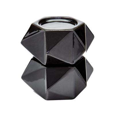 Large Ceramic Black Star Candle Holder (Set of 2)