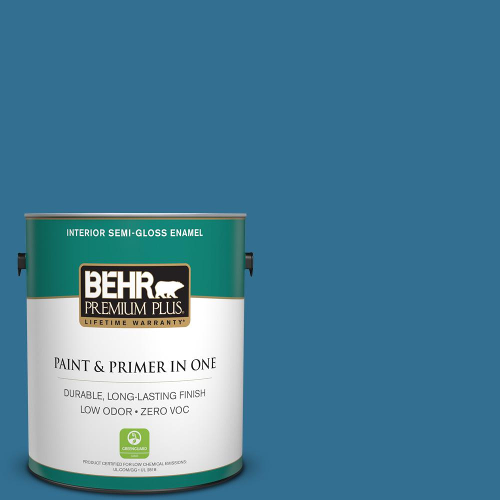 1 gal. #T18-14 Soul Search Zero VOC Semi-Gloss Enamel Interior Paint