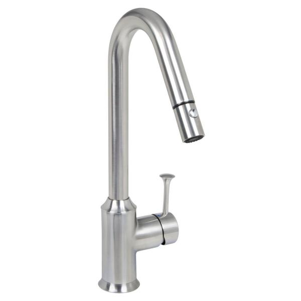Pekoe Single-Handle Pull-Down Sprayer Kitchen Faucet in Stainless Steel