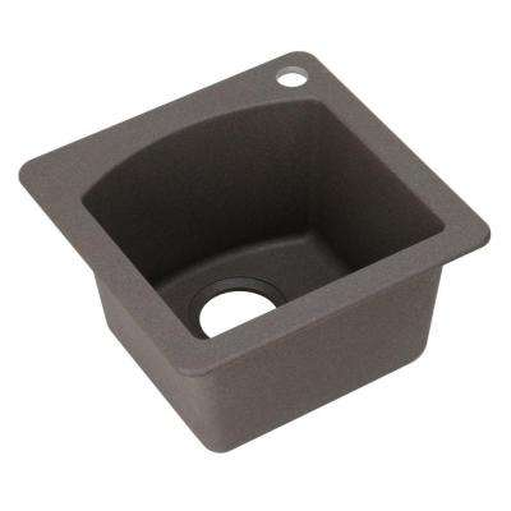 Diamond Dual Mount Composite 15 in. 1-Hole Single Bowl Bar Sink in Metallic Gray