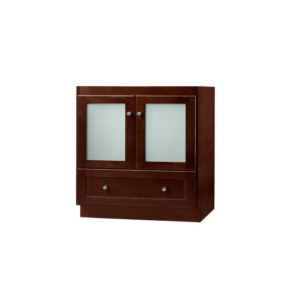 30 in. Shaker Bathroom Vanity Cabinet Base in Dark Cherry Frosted Glass Doors