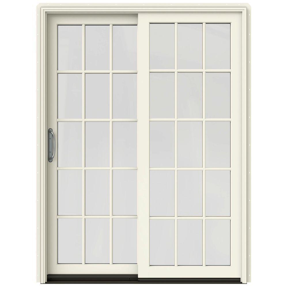 Merveilleux W 2500 Contemporary Vanilla Clad Wood Left Hand 15 Lite Sliding Patio Door  W/White Paint Interior