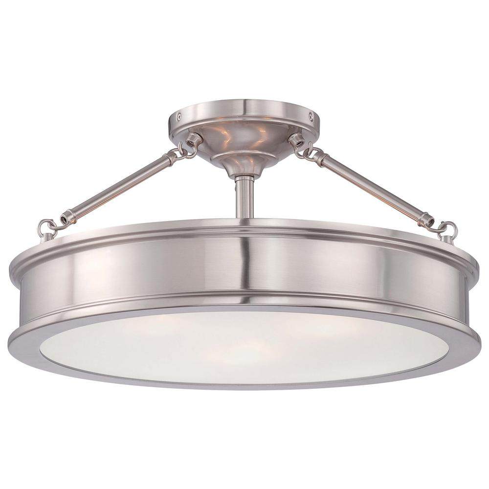 Home Decorators Collection 3-Light Brushed Nickel Semi-Flush Mount with Clear Outside/Frosted Inside Glass