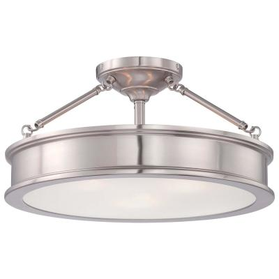 Grafton 3-Light Brushed Nickel Semi Flush Mount Ceiling Light