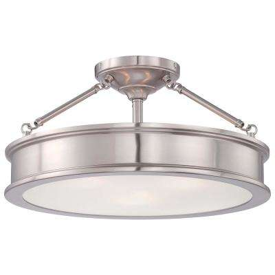 3-Light Brushed Nickel Semi-Flush Mount with Clear Outside/Frosted Inside Glass
