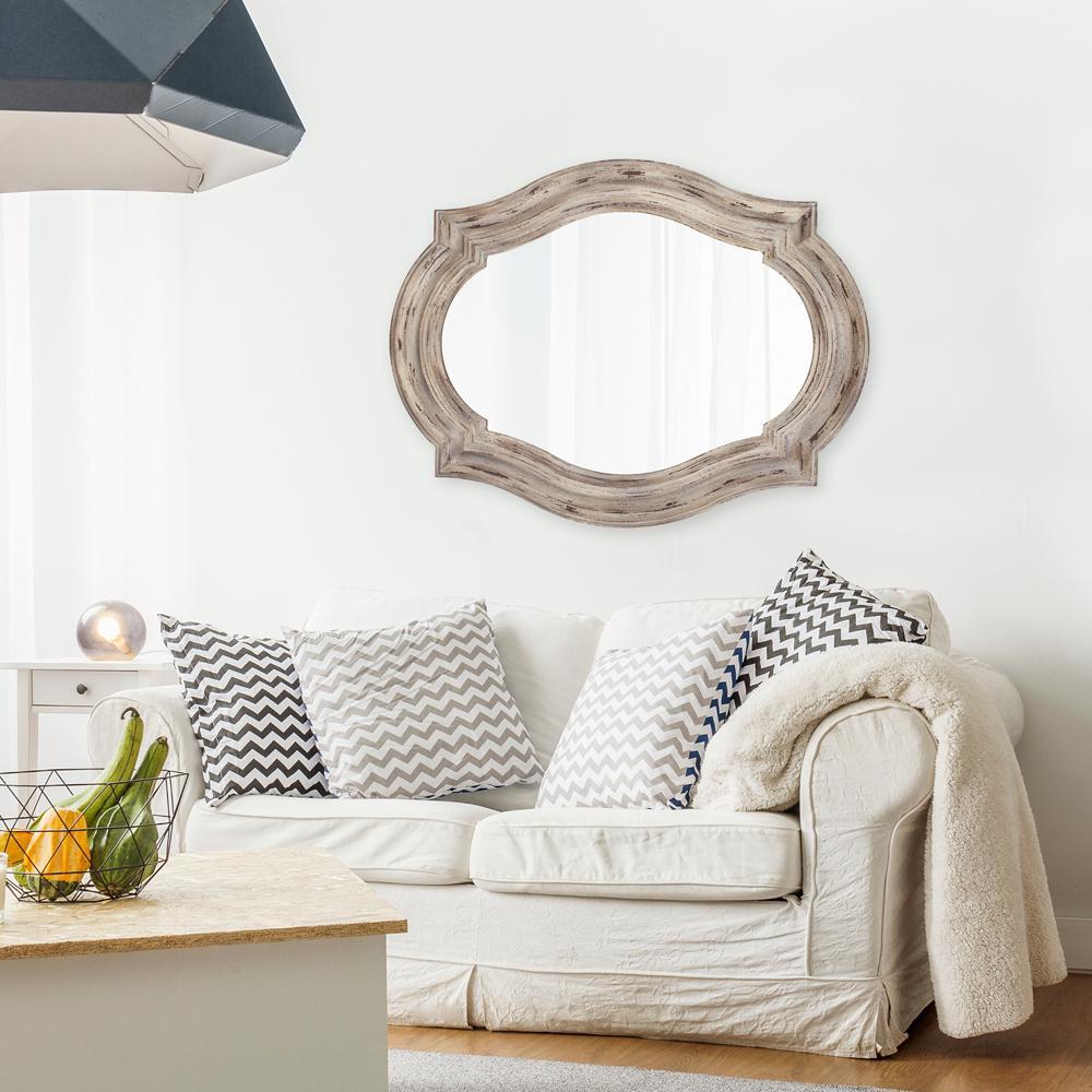 W Aubrey Rustic Quatrefoil Mirror