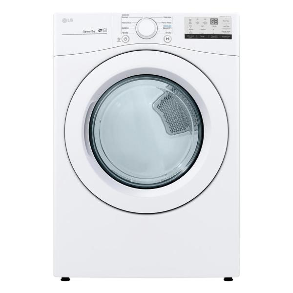 LG Electronics 7.4 cu. ft. Smart White Electric Vented Dryer with Sensor Dry