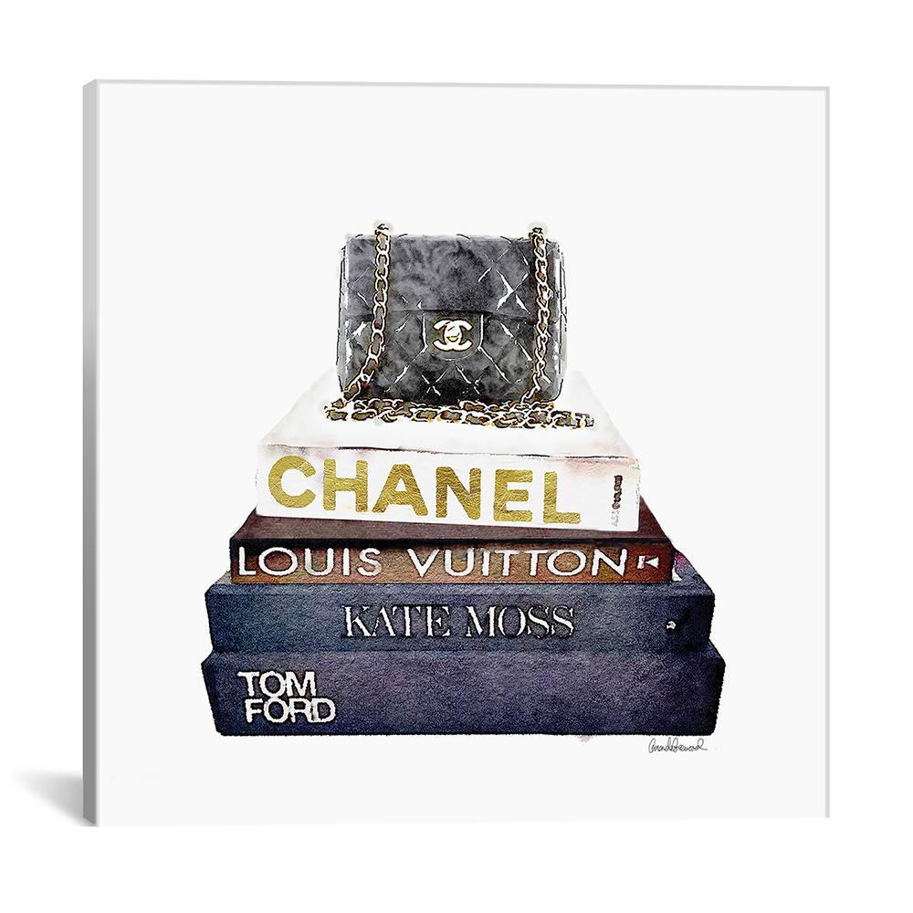 Stack of fashion books with a chanel bag by amanda greenwood canvas wall art
