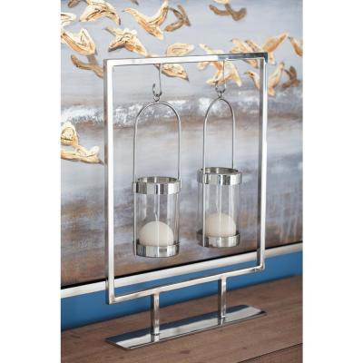 20 in. Silver Stainless Steel and Clear Glass Votive Candle Holder