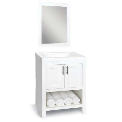 Spa 24 in. W x 18.75 in. D Bath Vanity in White with Cultured Marble Vanity Top in White with White Sink and Mirror