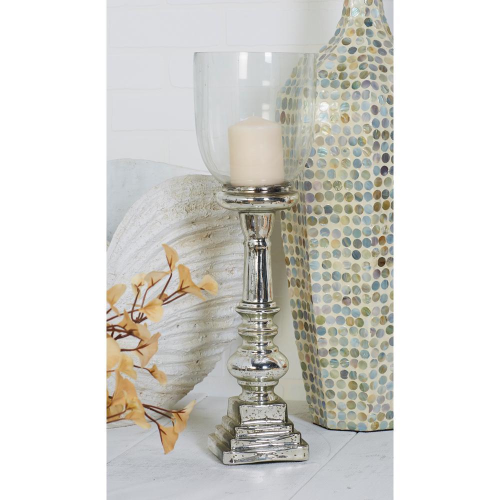 Silver Glass Hurricane Pedestal Candle Holder