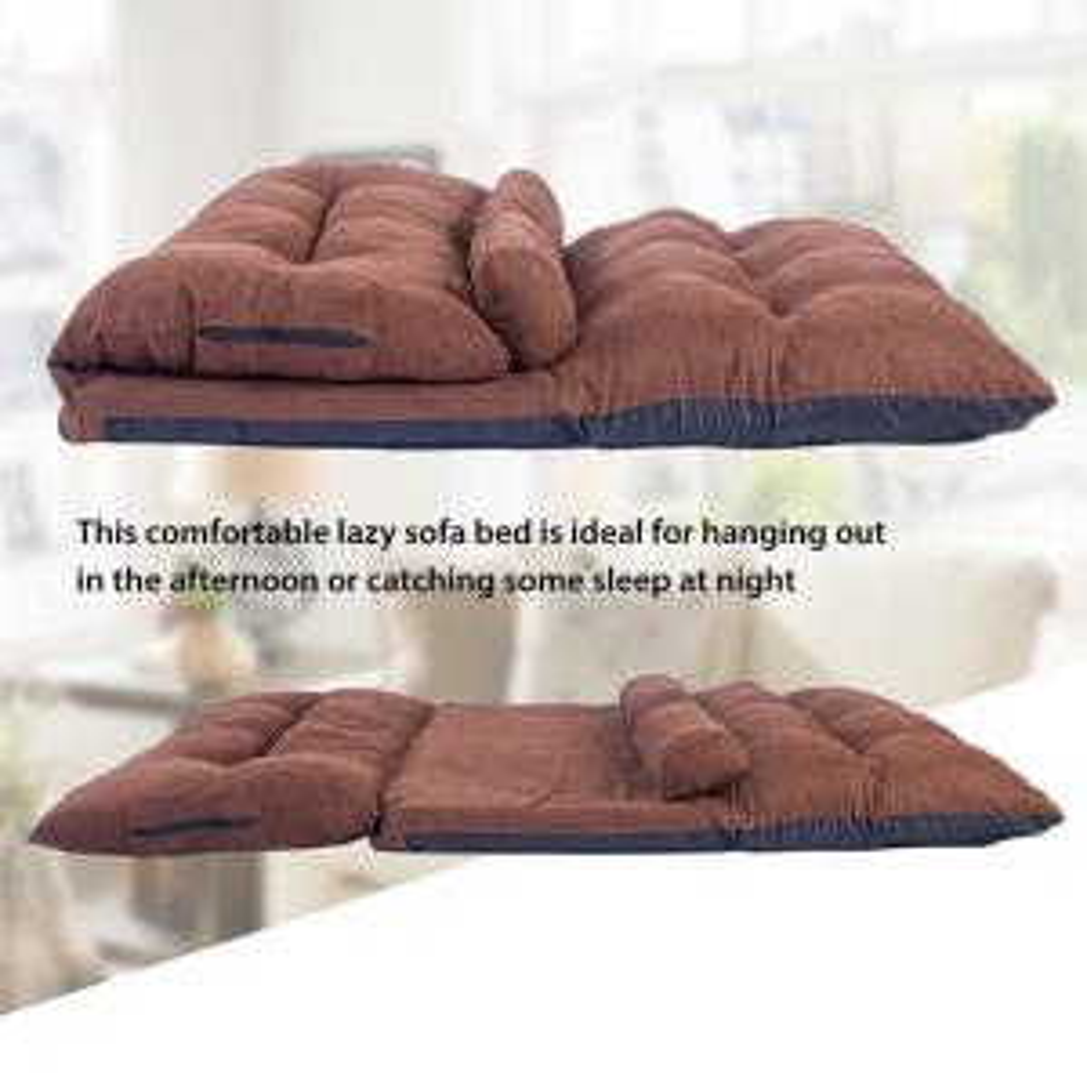 Harper Bright Designs Brown Adjule Folding Futon Sofa