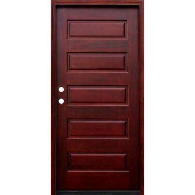 36 in. x 80 in. Contemporary 5-Panel Stained Wood Mahogany Prehung Front Door