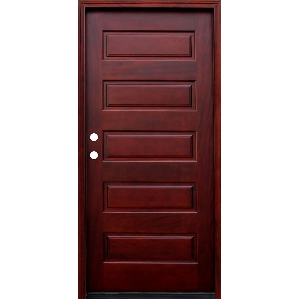 Pacific Entries 36 In X 80 In Contemporary 5 Panel Stained Wood Mahogany Prehung Front Door With 6 Wall Series