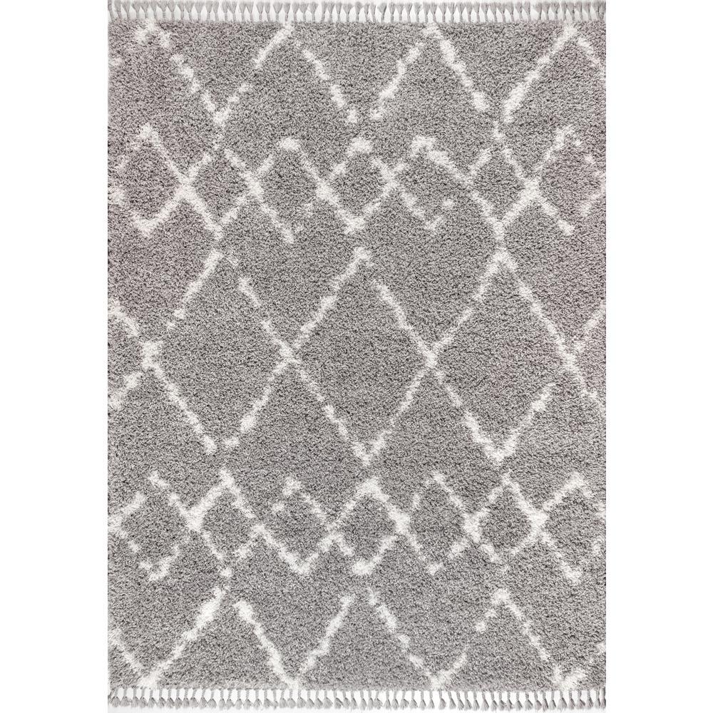 Mercer Shag Plush Tassel Moroccan Tribal Geometric Trellis Grey/Cream 8 ft. x 10 ft. Area Rug