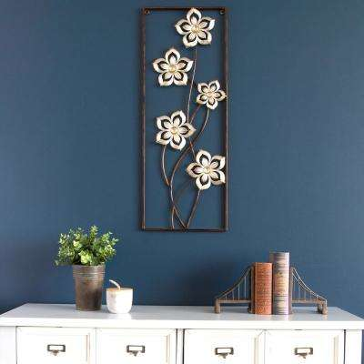 Champagne Bronze Floral Metal Panel Wall Decor