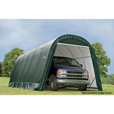 ShelterCoat 13 ft. x 24 ft. Wind and Snow Rated Garage Round Green STD