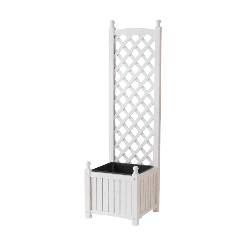 Square White Wood Planter With Trellis