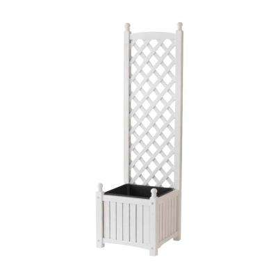 Lexington 16 in. Square White Wood Planter with Trellis